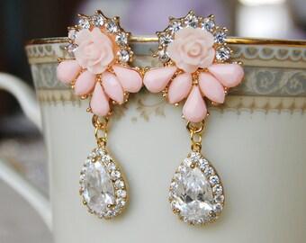 Pink Post Dangle Earrings , Pink Rhinestone Earrings , Flower Post Earrings , CZ Teardrop Earrings