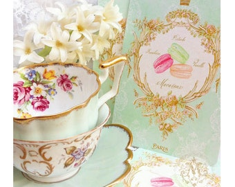 Tea party invitations, macaron, French patisserie, shower tea, high tea, bridal shower, invitations, cake cards, set of 4