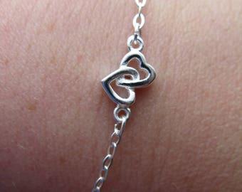 Hearts entwined in 925 silver bracelet