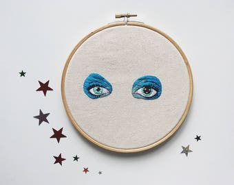 David Bowie Life on Mars Eyes 8 inch Embroidery Hoop