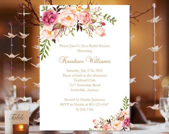 "Bridal Shower Invitation Template ""Romantic Blossoms"" Printable Template  Make Your Own Invitations in Minutes Easy to Edit DIY You Print"