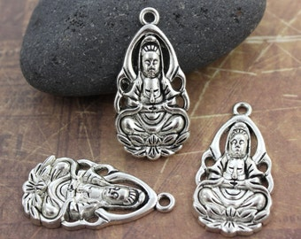 Kuan yin inspirational art mermaid painting watercolor 6 kuan yin charms buddha charms kuan yin pendants antiqued silver tone 18 x 32 mm thecheapjerseys Gallery