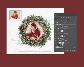 Christmas newborn wreath with texture - Digital backdrop - psd with layers