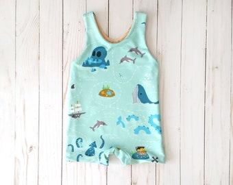 Baby Boy Treasure Map Swimsuit | Toddler Boy Swim Trunks | Boy Euro Shorts | Boy One Piece Bathing Suit | Whale Swimsuit | Pirate Swimsuit