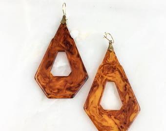 Vintage Amber Marble Bakelite Earrings