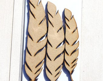 Simple Feathers mixed media MDF - 3 Pack