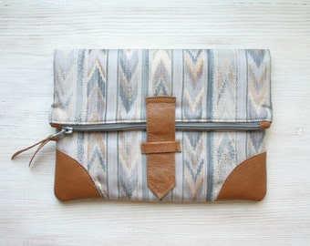 Chevron ikat Fold over Clutch Purse clutch bag leather and repurpoused fabric geometric pastel