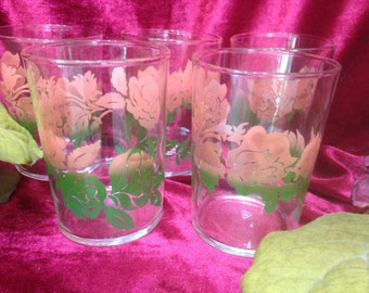 Federal Glass, Set of 5 Vintage Drinking Glasses - 1940's to 1960's -