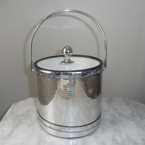 Vintage Elegance By Kraftware Mirrored Ice Bucket With Lid And Handle