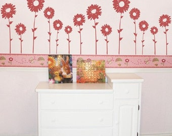 Sunflowers - Set of 7 - Wall Decals - Your choice of color