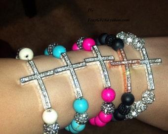Pink Fuschia Beaded Rhinestone Cross Bracelet LOWEST PRICE EVER