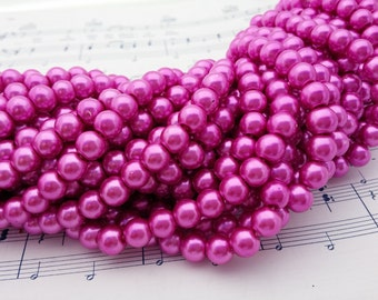 Glass Pearl Beads - 42 pc - Magenta Pearl Beads -  8mm - Round - Dyed -  Magenta Pink Pearls
