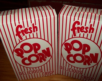 Retro Red and White Popcorn .75 oz  Boxes 10 Movie Party