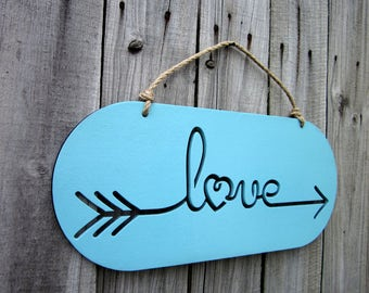 Love Sign, Light Blue, Painted Wood, Love Arrow Sign, Laser Cut Sign, Love, Laser Cut Out, Jute Hanger, Hand Painted