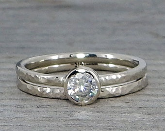 Moissanite Engagement Ring and Wedding Band Set, Recycled 14k White Gold, Delicate, Narrow, Stackable, Inexpensive, Made to Order