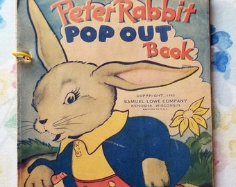 VINTAGE POP OUT Books: Gengerbread Boy, Three Bears, and Peter Rabbit, 1943