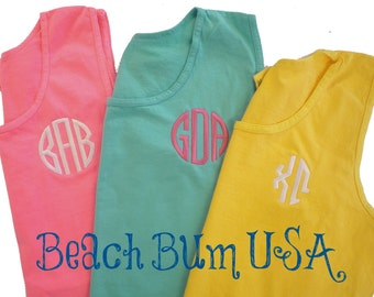 Beach Top Monogram Cover Up, Columbia Monogram Top, SM to 3XL Monogram Top & Loose Beach Coverup, Monogram Button Down for Him or Her