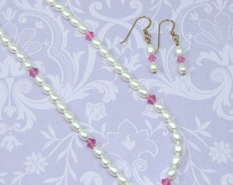 Pearl Necklace and Earrings Set with Pink Crystals, Genuine Pearl Jewelry Set, 18 Inch Pearl and Crystal Necklace, Gift for Her
