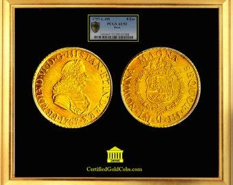 PERU 8 ESCUDOS FERDINAND VIth (1745 60) 1757 ljm pcgs au 53 gold coin