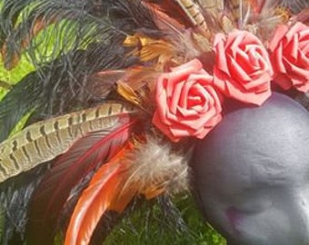Pheasant feather and rose headdress