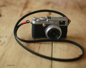 Red top 8mm black thicken leather handmade Camera neck shoulder strap more color