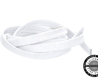 """Genuine Leather Strap, Folded White, 6mm (1/4"""" inch) 3 yards (108"""" inches)  (1709)"""
