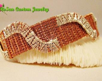 Copper and Sterling Silver Swirl Design Cuff Bracelet