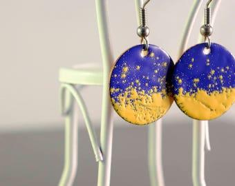 dark blue & yellow small circle enamel earrings