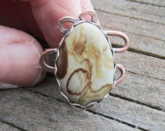 Picture Jasper Sterling Silver and Copper Mixed Metal Ring - Size 7 1/4