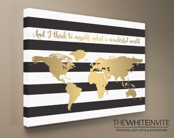 World Map Canvas Print - Black and White Stripe Gold (Faux Gold Foil)