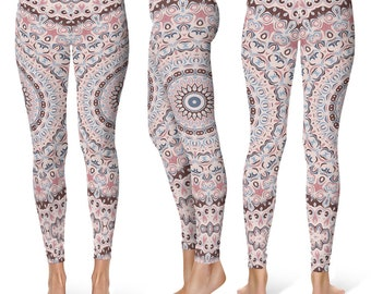 Yoga Pants Women, Unique Yoga Leggings, Mandala Printed Leggings Tights