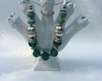 Chunky Turquoise Necklace with Silver and Ghana Glass