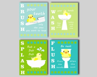 Rubber Duck Bath Art, Bathroom Wall Art, Rubber Ducky, Bath Rules, Kids Bath Wall Art, Kids Bathroom Art, Duck Art - Choose Your Colors KB14