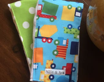 Trucks Burp Cloth Set- Primary Colors