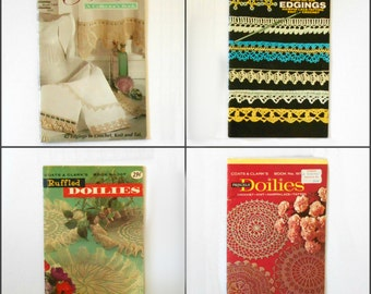 Vintage Coats & Clark's Edgings and Doilies books 107 197 208 1405 to Knit Crochet Tat CHOICE OF ONE