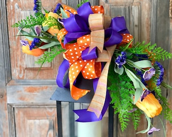 The Greta spring tulip lantern swag~Easter swag~Orange & purple swag for lantern~Spring decor~Easter decorations