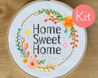 Modern Cross Stitch Kit, Home Sweet Home, Home Cross Stitch Kit, Quote, Flower Wreath, Floral Decor, Counted Cross-stitch Kit, Colorful