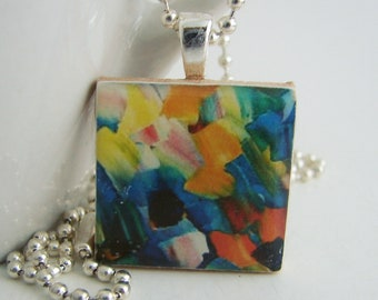 Abstract Pendant with Free Necklace
