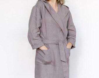 Linen nightgown, linen bathrobe, organic robe, dressing robe, spa robe, nightgown, bridesmaid robes, wedding robes, house dress, wifey robe
