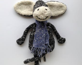 Black donkey plush and soft fluffy scarf