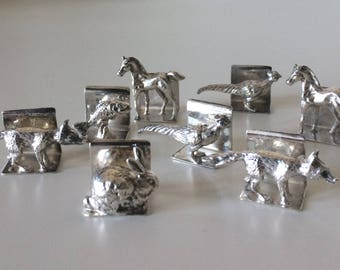 CHOICE of 1 Vintage STERLING Silver Place Card or Menu Holders Figural Animal Fox, Pheasant, Horse, Fish, Rabbit England