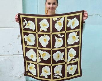 Vintage silk shawl, floral head scarf, Brown beige white, spring summer scarf, Square Silk Scarf, Women's Neck Scarf, Thin light scarf