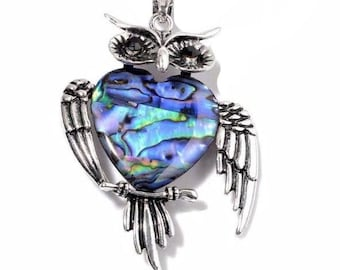 Abalone Shell Owl Pendant, Black Austrian Crystal Silvertone Without Chain
