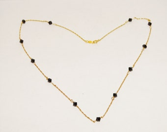 "Vintage 14k yellow gold Faceted Onyx 17"" Necklace 2.3 grams Necklace."