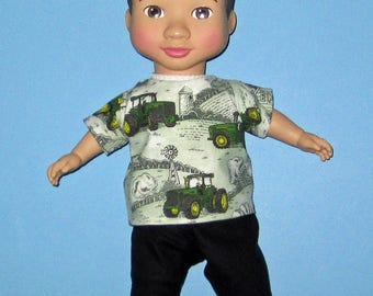 """Wonder Crew Outfit, Doll Clothes,  Green Tractor Set, 14""""  or 15"""" Doll Clothes, Boy Doll Clothes, Will, James, Erik, Marco Outfit"""