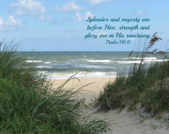 9. Back Bay Beach; Ocean; Photo greeting card; Nature art print; Gift; Inspirational Scripture Psalm 96:6