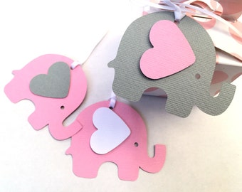 Pink & Gray Elephant Baby Shower gift tags. For gifts, first birthday, party favors, treats, gift bags. Baby girl shower, gender reveal.