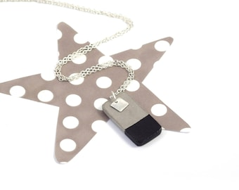 Black concrete rectangle necklace