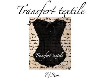 Transfer textile vintage black bustier on manuscript 7 / 9cm