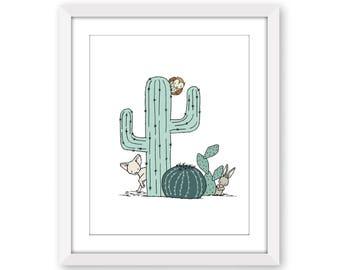 Nursery Art -- Southwest Peek A Boo -- Cactus Nursery Art -- Kids Wall Art - Childrens Art - Cactus Art - Fox, Bunny, and Owl